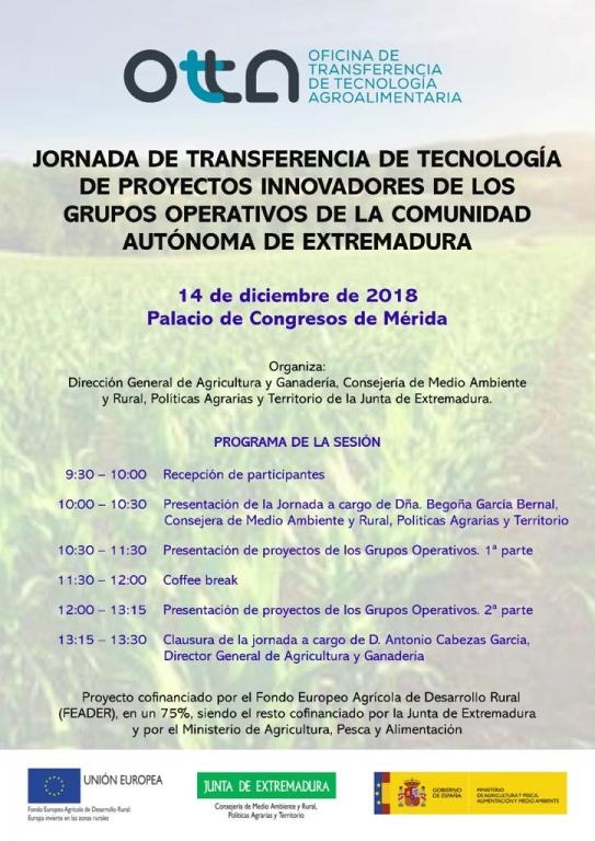 La Dirección General de Agricultura y Ganadería presenta el 14 de diciembre los Proyectos Innovadores en Extremadura.