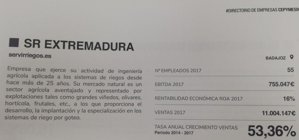 Serviriegos, entre as 500 empresas que mais crescem na Espanha.