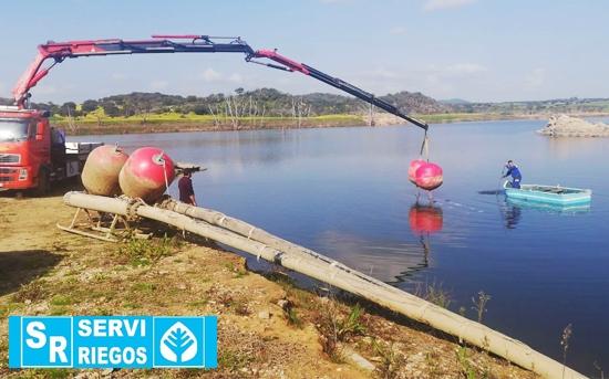 Colocación de bombas en el río Guadiana (Olivenza)